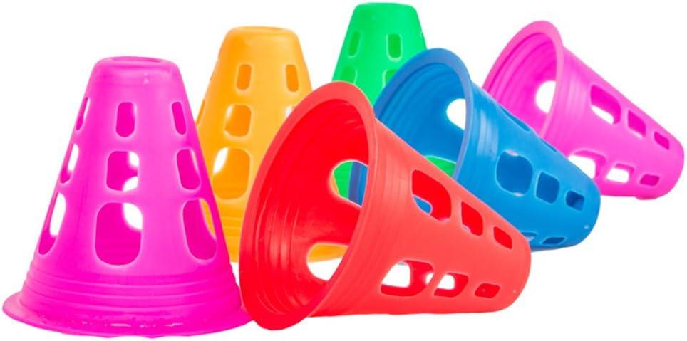 VORCOOL 10Pcs Plastic Sport Training Traffic Cone Multi-purpose Cone for Outdoor and Indoor Activities Soccer Roller Skating (Random Colour)