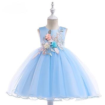 WCZ 2018 Vestido de los niños, Tridimensional Applique Princesa Vestido de Novia, Falda de algodón Falda de Malla: Amazon.es: Deportes y aire libre