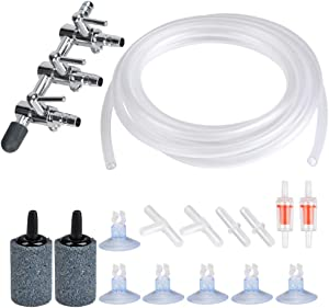 ATPWONZ Aquarium Air Pump Accessories Set 13 Feet Standard Airline Tubing with Air Stones, 3-Way Air Distributors, Check Valves, Suction Cups and Connectors