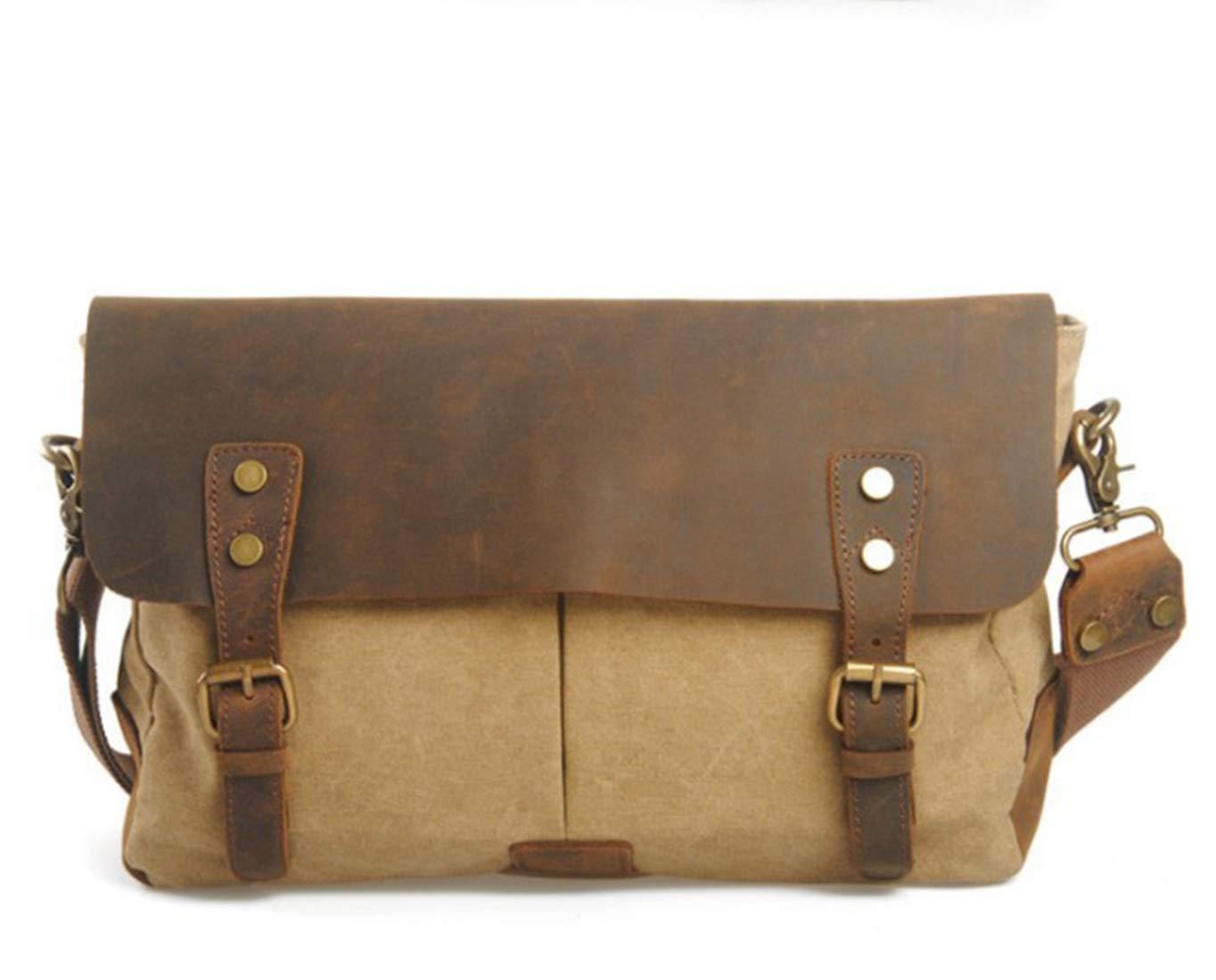 Color : Khaki KRPENRIO Mens Messenger Shoulder Bag Vintage Canvas Briefcase Crossbody Day Bag for School and Work