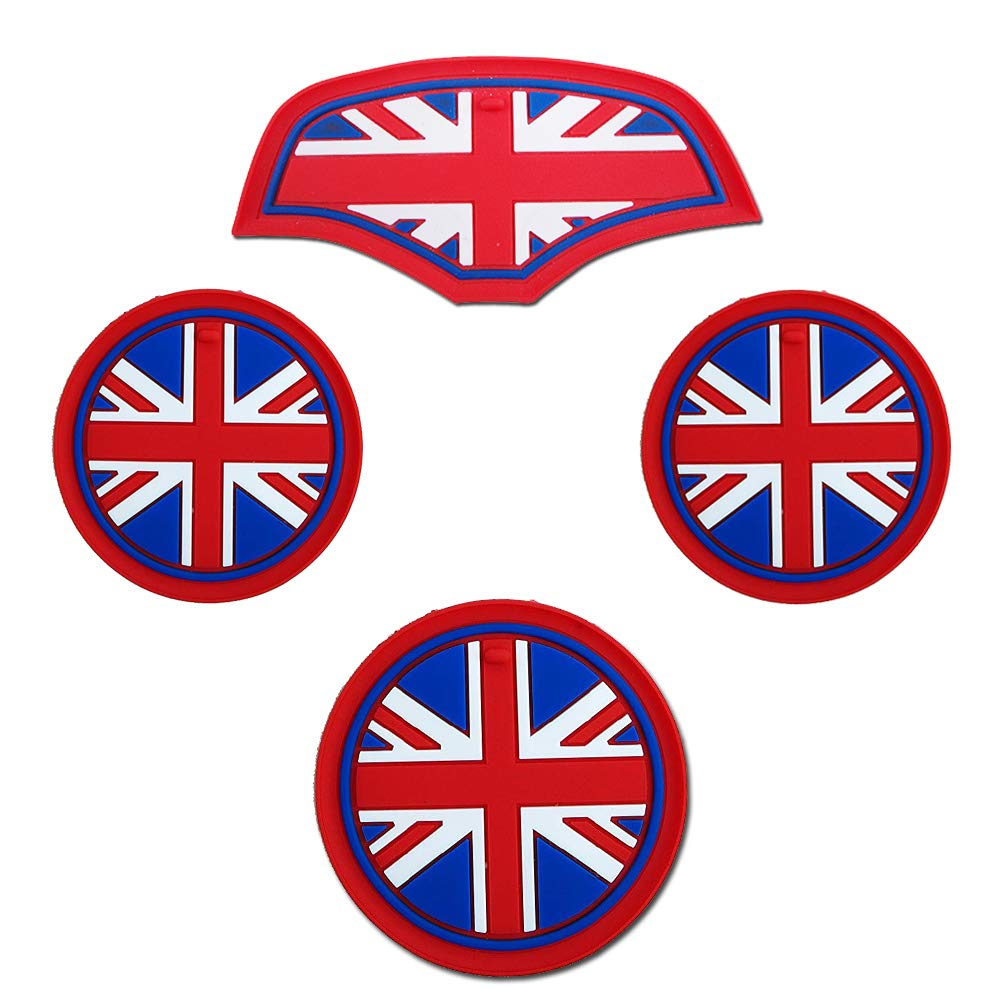 Soft Silicone Black /& Gray Union Jack UK Flag Style Front Cup Holders 4PCS Coasters and Storage Box Mat for Mini Cooper F55 F56