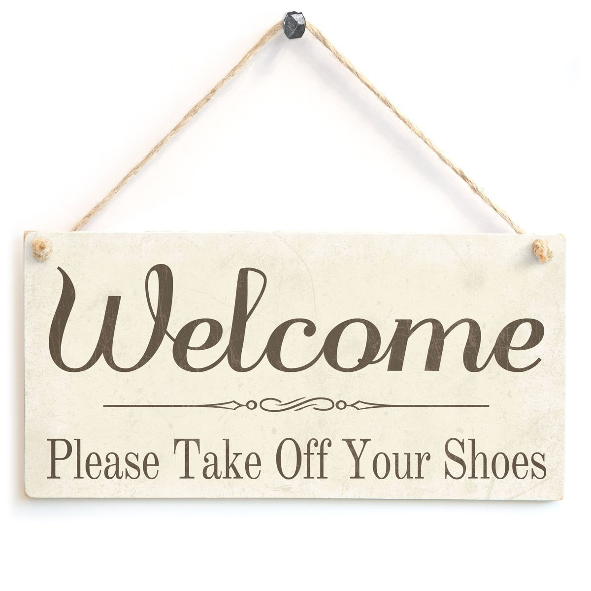 BBCUE Welcome Please Take Off Your Shoes - Wooden Sign Gift Wooden Hanging Sign