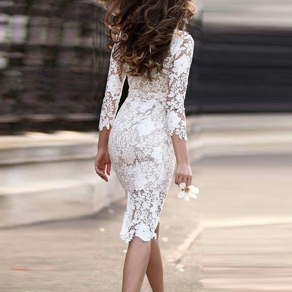 d8247e2e2ba Amazon.com  FRCOLT Fashion Womens Sexy Lace Bodycon Pencil Dress Cocktail  Prom Gown Tight Dress  Clothing