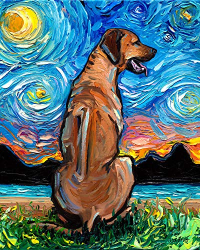 Rhodesian Ridgeback Starry Night Rectangle Art Print Dog artwork by Aja cute colorful van Gogh animal pet wall decor choose size and type of - Ridgeback Pictures Rhodesian Dog
