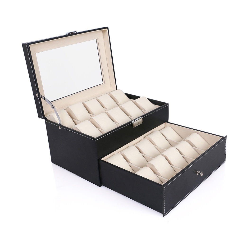 OUkANING Caja para 20 de Relojes organizador de relojes caja relojero estuche relojero para almacenar relojes, de piel sintética, negro 28.8*20.5*15cm