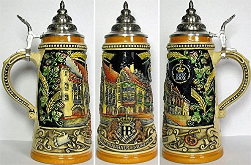 German Beer Stein - Hofbräuhaus Munich Reliefstein .25L - Yellow