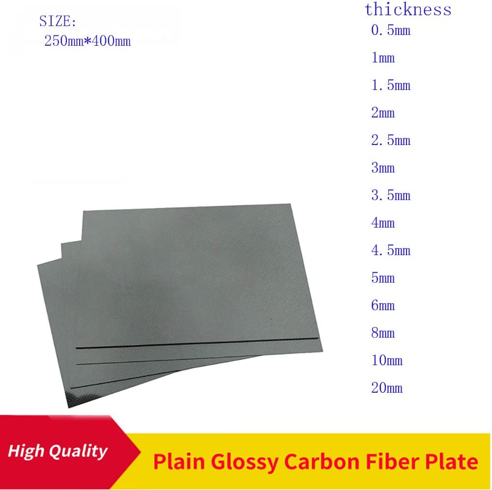 SOFIALXC Carbon Fiber Board 100/% 3K Plain Weave 250x400mm Glatte Oberfl/äche Carbon Plate Laminat 1mm