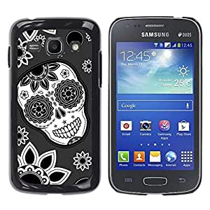 Impact Case Cover with Art Pattern Designs FOR Samsung Galaxy Ace 3 Skull Flowers Wallpaper Floral Smile Betty shop
