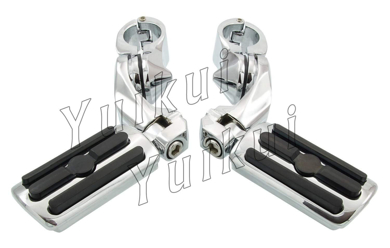 YUIKUI RACING オートバイ汎用 1-1/4インチ/32mmエンジンガードのパイプ径に対応 ハイウェイフットペグ タンデムペグ ステップ HONDA VTX1300C/VTX 1300R(S)RETRO/VTX1300T TOURER 2003-2009等適用   B07PYY3Z45