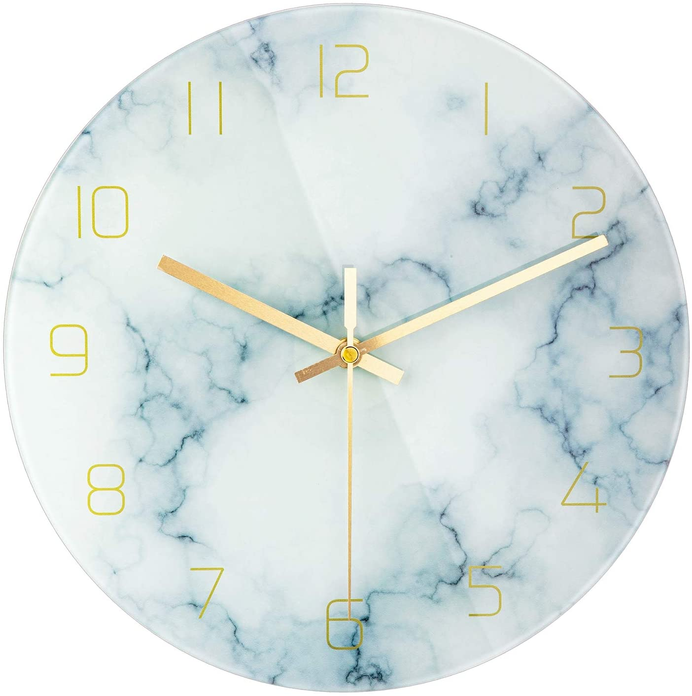 Amazon Com Patgo Glass Marbling Silent Wall Clock For Living Room Decor 12 Inch Modern Marble Non Ticking Decorations For Aesthetic Bedroom And Office Battery Operated Kitchen Dining