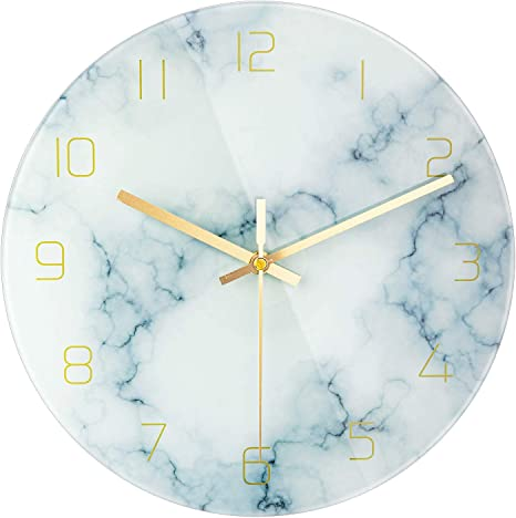Patgo Glass Marbling Silent Wall Clock For Living Room Decor 12 Inch Modern Marble Non Ticking Decorations For Aesthetic Bedroom And Office Battery Operated Kitchen Dining