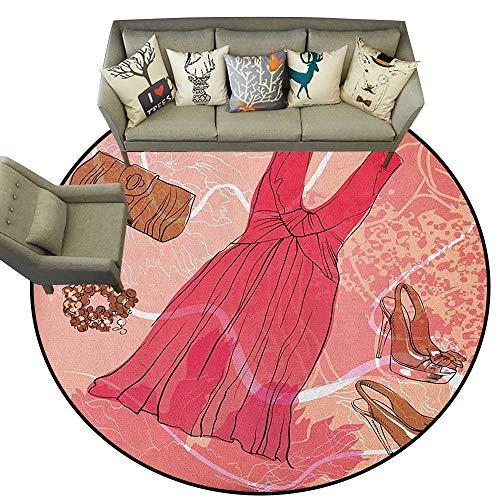 - Heels and Dresses,Printed Carpet Spring Inspired Floral Abstract Backdrop Pink Dress Shoes Bracelet D78 Floor Mats Modern Kitchen Rug