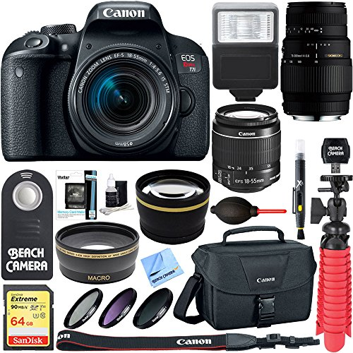 Canon EOS Rebel T7i DSLR Camera with EF-S 18-55mm IS STM & 70-300mm Lens + 64GB Class 10 UHS-1 SDXC Memory Card + Accessory Bundle by Canon