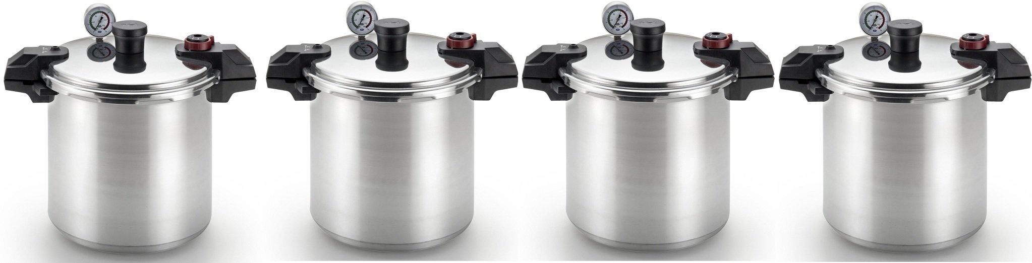 T-fal P31052 Polished Pressure Canner and Cooker with 2 Racks and 3-PSI Settings Cookware XUsilp, 22-Quart, Silver, 4 Pack