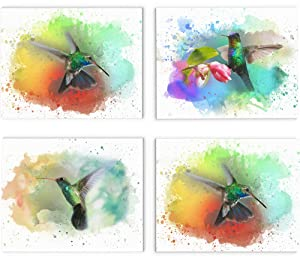 "Hummingbird Wall Art, 11""x14"" Set of Four, Unframed Art Print - Stunning Watercolor Style Bird Decor for Kitchen, Bedroom, Office, Bathroom, Home"