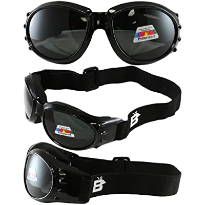 Birdz Eyewear Eagle Motorcycle Goggles (Black Frame/Polarised Smoke Lens): Automotive