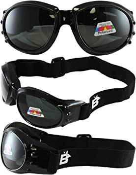 Birdz Eagle Black Frame Motorcycle Goggles with Smoke Lenses and Vented Foam