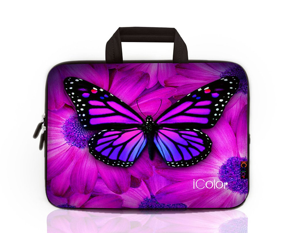 iColor Floral 15 15.4 15.6 Netbooks Laptop Ultra-Portable Neoprene Sleeve Carrying Case Briefcase Handle Bag Pouch Tote for Apple MacBook Pro, Lenovo Flex 3 15, HP Envy X360, Dell Alienware 15 R2, Toshiba Satellite L55, Dell Inspiron i3543 IHB15-07 HST