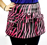 Personalised-Pet-Products Dog Groming Utility Apron Skirt / Tool Belt . Hold All Your Scissors, Combs, Brushes And Treats, And More Importantly Your Mobile Phone! (Zebra Pink/Black) Polyurethane