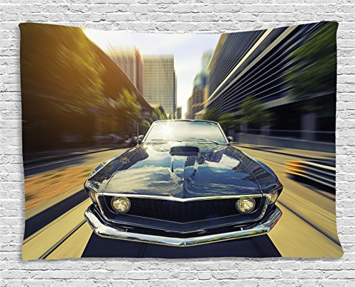 - Ambesonne Retro Tapestry by, Vintage Classic Car in Urban Street Old Fashion Auto in Town Nostalgia Picture, Wall Hanging for Bedroom Living Room Dorm, 80 W X 60 L Inches, Sepia Silver Grey