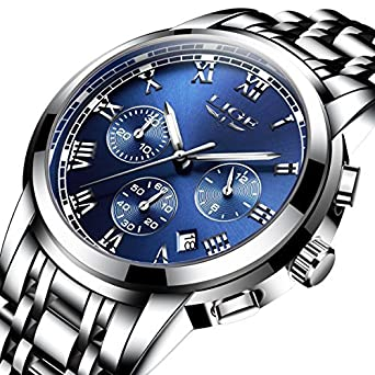 df9d14665f1d Image Unavailable. Image not available for. Color  Watches Men Luxury Brand  Chronograph Men Sports Watches Waterproof Full Steel Quartz Men s Watch