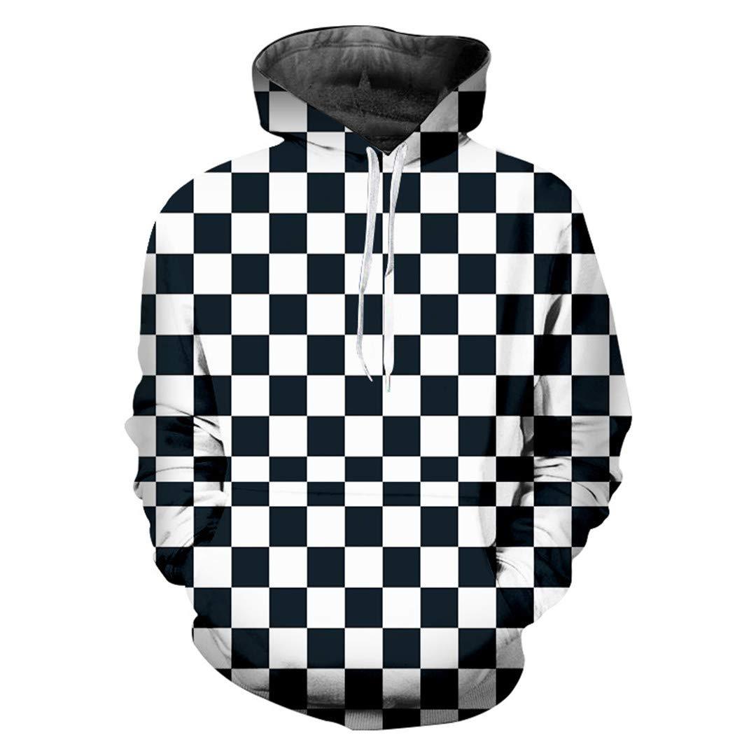BRANHOSL Spring Fall Casual Hoodies Mens Grid 3D Sweatshirt Couple Hooded