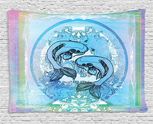 Japanese Decor Tapestry by Ambesonne, Soul Mate Ethnic Oriental Exotic Fishes on Gradient Round and Framed Sea Illustration, Wall Hanging for Bedroom Living Room Dorm, 60 W X 40 L, - Ideas Indoor Valentines Day