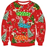 Uideazone Men Women Ugly Christmas Sweatshirts Printed Christmas Dog Long Sleeve Shirt Plus Size