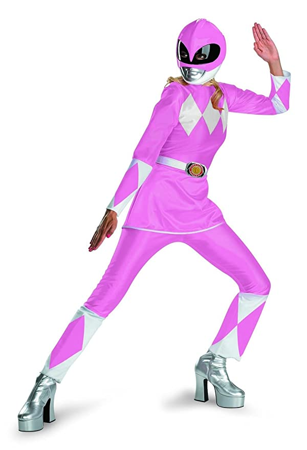Amazon.com Disguise Unisex Adult Deluxe Power Ranger Pink/White Large (12-14) Costume Clothing  sc 1 st  Amazon.com & Amazon.com: Disguise Unisex Adult Deluxe Power Ranger Pink/White ...