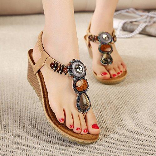 dégradé femme yalanshop plage nouveau 37 diamant toe sandales de sandales Bohème clip chaussures romaines perlé été chaussures style folklorique wpBnqtxgB