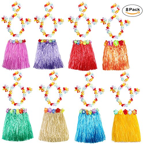8 Pack Hawaiian Luau Hula Skirts Elastic Grass Hibiscus Flowers Birthday Tropical Party Decorations Favors Supplies kids flowered luau hula skirts with Floral Lei (Lei Skirt)