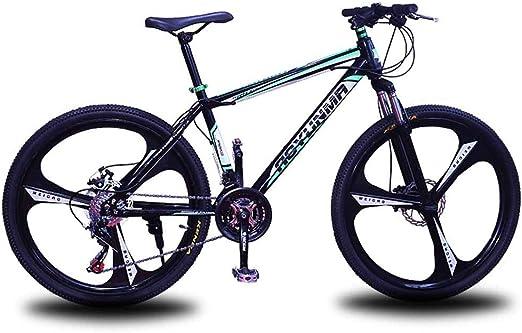 Bicicleta de montaña para hombre, marco de acero de 24 velocidades 24 pulgadas Ruedas de 3 radios, horquillas de suspensión delantera totalmente ajustables Frenos de disco de bicicleta,Black,24speed: Amazon.es: Hogar