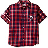 KLEW MLB St. Louis Cardinals Wordmark Flannel Short Sleeve Button-Up Shirt