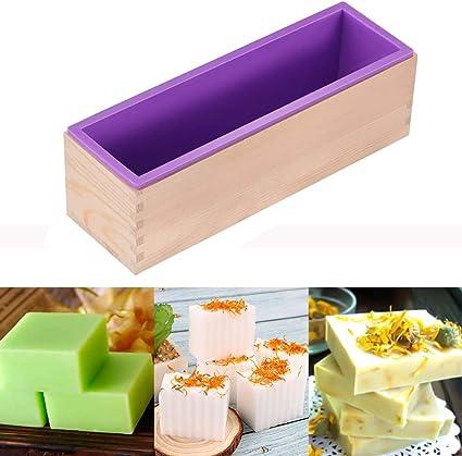 Molde de jabón, molde de silicona rectangular para hacer jabón, con cajas de madera Jabón molde de silicona con caja de madera para productos de jabón ...