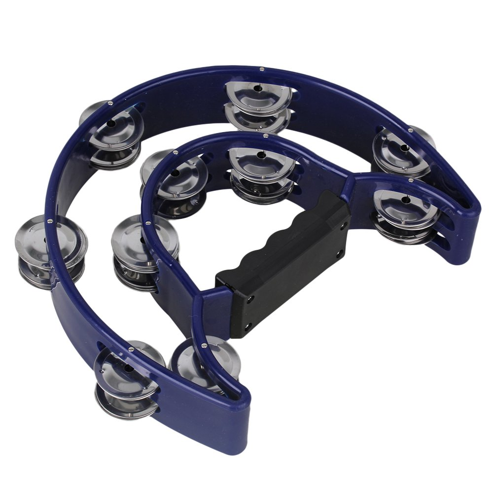 lovermusic 40 Jingles Blue Plastic Double Bell Music Tambourine Musical Hand Percussion