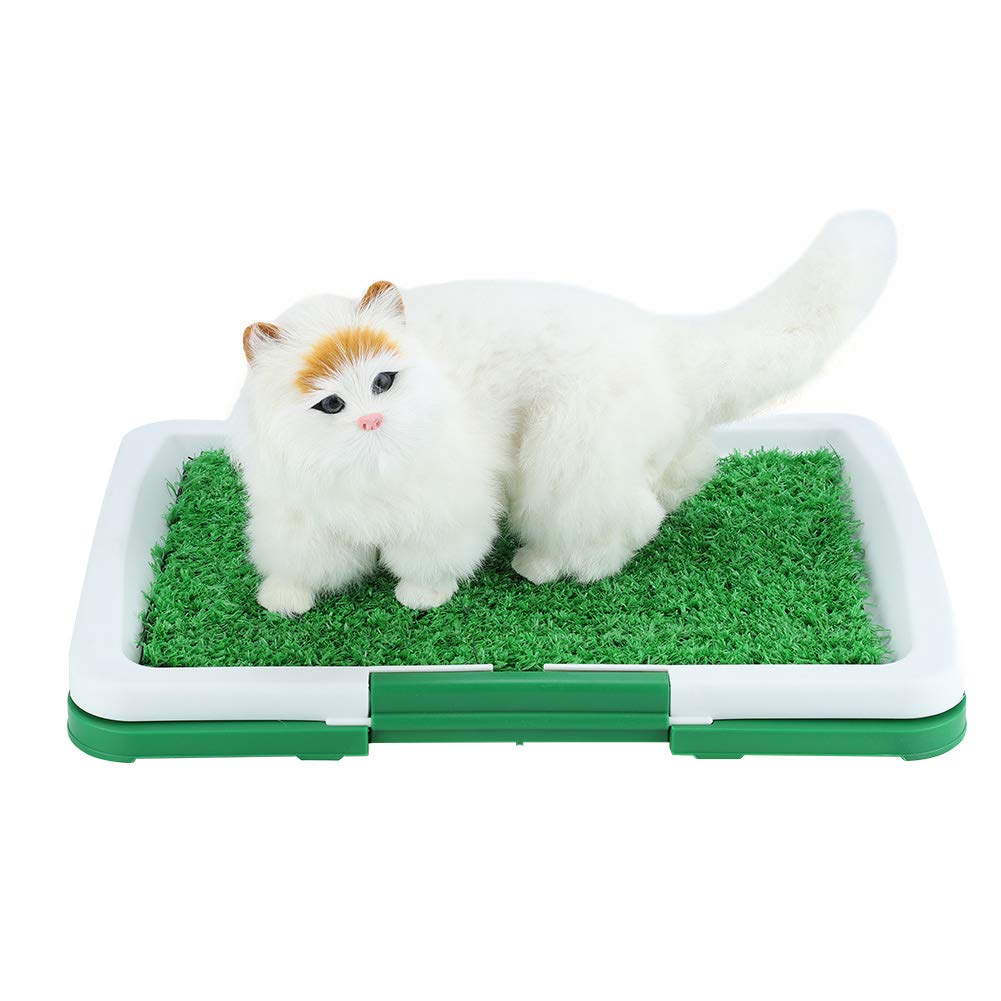 Yosoo Dog Pet Potty Mat Grass Pad with Mesh+Collection Tray Clean Patio Home Indoor Restroom Toilet Pee Training, Puppy Potty Trainer Dog Pad Indoor and Outdoor Use