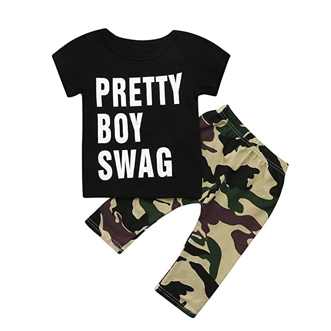 Camouflage Pants Outfits Clothes Set New Infant Baby Boy Letter T shirt Tops