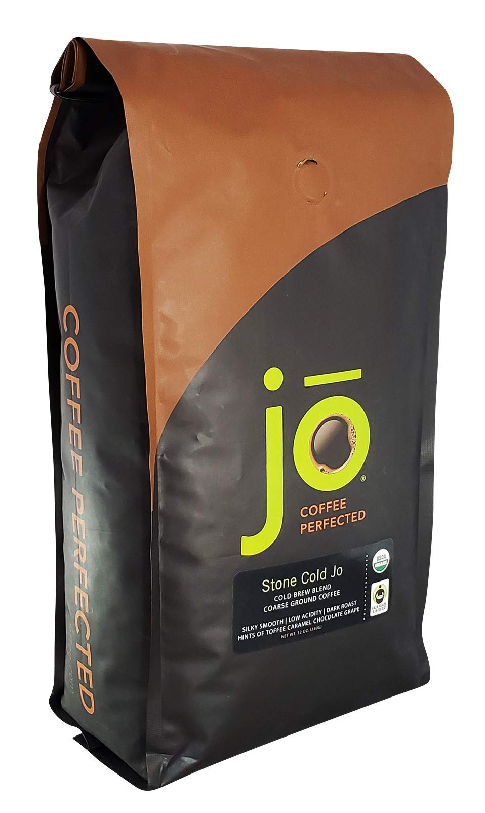 STONE COLD JO: 2 lb, Cold Brew Coffee Blend, Dark Roast, Coarse Ground Organic Coffee, Silky, Smooth, Low Acidity, USDA Certified Organic, Fair Trade Certified, NON-GMO, Great French Press Hot Brew by Jo Coffee