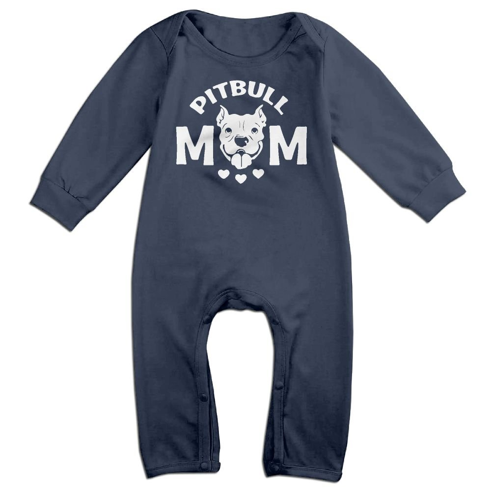 Mri-le1 Baby Girls Long Sleeved Coveralls Pitbull Mom 1-1 Baby Rompers