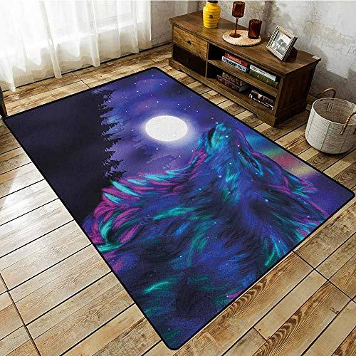 Large Area Rug,Moon,Northern Imagery with Aurora Borealis Wolf Spirit Magical Forest Starry Night,Rustic Home Decor Indigo Aqua Magenta]()