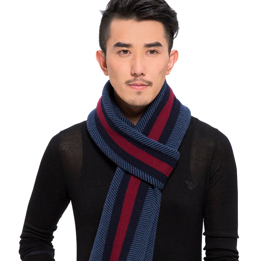 Thick long men's scarf/ mixed-wool-knit stripe scarf in England-C One Size