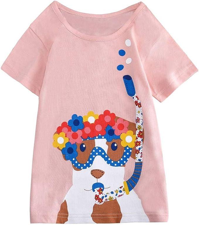 Mitlfuny Niños Camisetas de Manga Corta Verano Ropa Pascua Dibujos Animados Florales Estampado Casual Camisas Cuello Redondo Blusas de Algodón para Bebé Niña Niño Rosa Tops 2-8 Años: Amazon.es: Ropa y accesorios