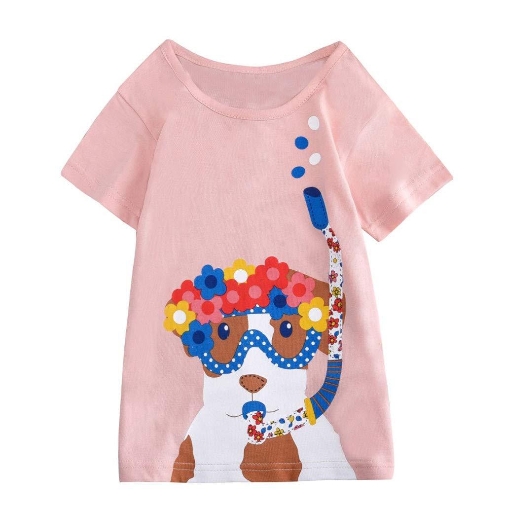 BOOMJIU Boys Cartoon Print Tops Summer Toddler Kids Baby Girls Short Sleeve Tee T-Shirt Blouse for 2-8 T Pink