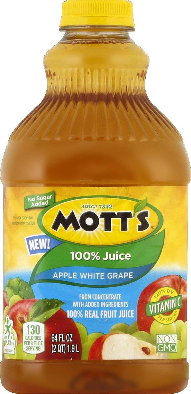 Mott's Apple White Grape 100% Juice, 64 Fl. Oz. Bottle