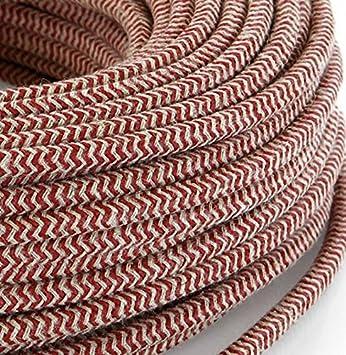 design lampade Made in Italy Cavo elettrico in tessuto tondo rotondo stile vintage rivestito 3 metri filato Sabbia // Ciliegia Rosso H03VV-F sezione 2x0,75 per lampadari abat jour
