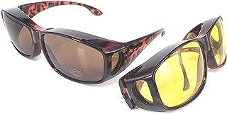 Wrap Around occhiali -Sovraocchiali | Set di 2 pezzi | Per guidare GIORNO e NOTTE | Protezione anti UV400 Coprire occhiali e Occhiali da vista regolari. | Adattamento sopra i bicchieri Colore marrone ACHATPRATIQUE