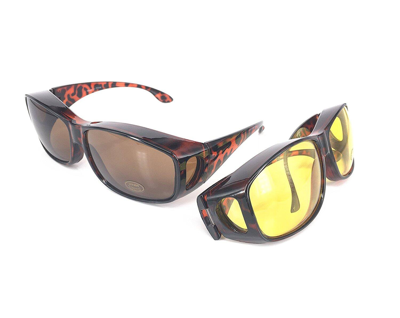 Gafas de sol superpuestas | Más gafas de sol - Más de gafas de sol - gafas de conducción y gafas de visión nocturna | Conjunto de 2 piezas | Para conducir DÍA y NOCHE | Protección anti UV400