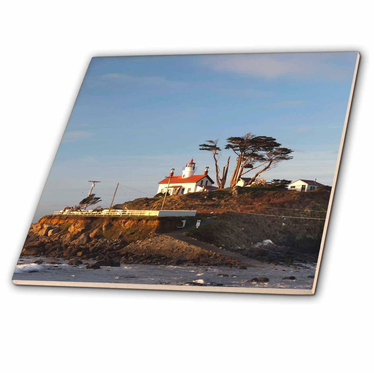 Crescent City US05 WBI1553 Battery Point Lighthouse Lighthouses ct/_88740/_3 8 Inch Ceramic Tile CA Walter Bibikow 3dRose Danita Delimont