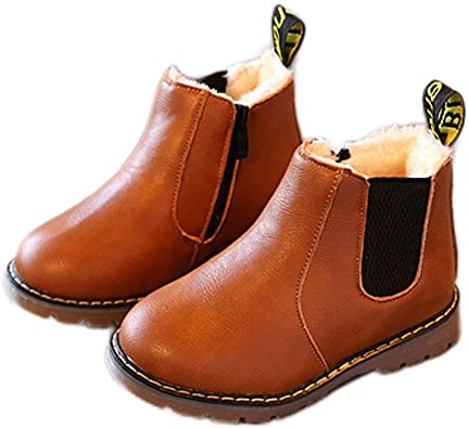 Toddler Kids Boys Girls Winter Warm Lace-Up Fur Lined Ankle Boots Martin Shoes