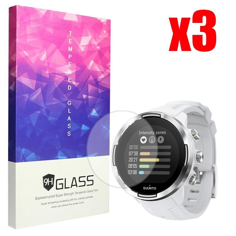 Paquete de 3 BECEMURU Suunto 9 Baro de Pantalla 9H Pantalla de Cobertura Completa Protector de Cristal Templado para Suunto 9 Baro Smartwatch